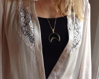 Crescent moon necklace * Lunar necklace * Black agate
