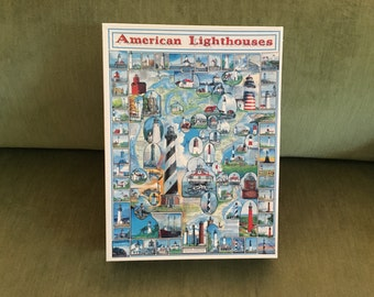 White Mountain Puzzles, American Lighthouses, Made in USA, #132,  NIB, 1000 Pieces, 24 x 30, Lighthouse Puzzle, JigSaw Puzzle, Large Puzzle