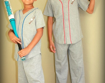 Gray Baseball Kids Cotton Pajamas