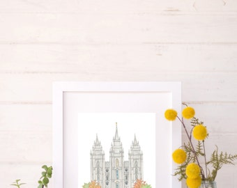 Salt Lake LDS Temple (Watercolor Print)