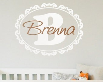 Baby Name Decals Etsy - Monogram wall decals for nursery
