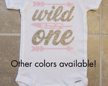 Wild One Tribal Arrow First Birthday Onesie - gold glitter one, arrow, feather, wild one shirt, pow wow, pink gold