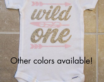 Wild One Birthday Onesie - girl first birthday shirt, arrow, feather, wild one shirt, pow wow, pink gold