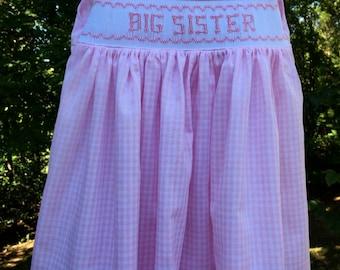 Big Sister Hand Smocked Sundress/Jumper/Pink (Toddlers and Little Girls)