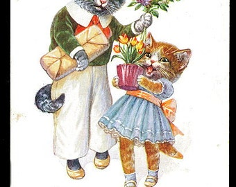 1912 Arthur Thiele 2 Cats with Flowers TSN Postcard