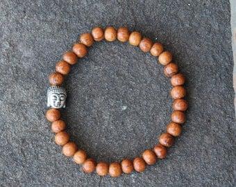 Bayong Wood Mala Bracelet with Buddha Charm, Bayong Mala Bracelet, Buddha Mala Bracelet, Wood Mala Bracelet, Stackable Bayong Bracelet, Mala
