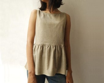 Women's Organic Cotton Sleeveless Top in Natural Dyes