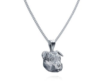 Handmade Pit Bull Face Necklace in Sterling Silver.