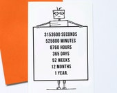 One Year Older, Robot Birthday Card, Geek Birthday, Anniversary Card, Techie Robot Card, Maths Birthday, Numbers Nerd