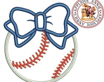 Baseball with Bow Embroidery Machine Applique Design in 4 Sizes