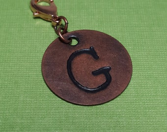 Antiqued Copper Initial Charm for Midori Notebook or Planner