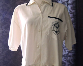 Vintage Victoria's Secret Pajama Button Shirt Cropped Top White And Black Gold Label 1980s