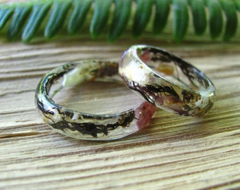 Ocean Resin ring, Mermaid Ring, Summer Sea Ring, Seashell Ring, Thin Stacking Ring, Engagement Ring, Beachy Jewelry, Women Gift, Men Gift