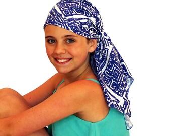 Ava Joy Children's Pre-Tied Head Scarf, Girl's Cancer Headwear, Chemo Head Cover, Alopecia Hat, Head Wrap for Hair Loss - Blue Aztec