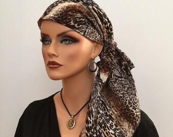 Jessica Pre-Tied Head Scarf, Women's Cancer Headwear, Chemo Scarf, Alopecia Hat, Head Wrap, Head Cover for Hair Loss - Animal Print Mania