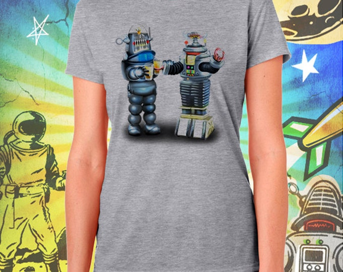 Lost in Space B9 Robot and Robbie the Robot Gray Women's Tee