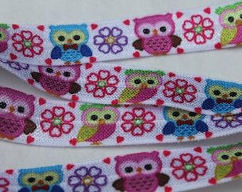 Owl Print FOE 5/8 -Fold Over Elastic 5/8 inch by the yard...Print FOE, Headbands, Hair Ties and More!