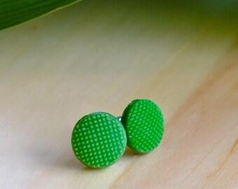 Vintage 1920s green Czech glass button stud earrings