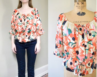 60s Flower Power Silk Top // Off The Shoulder Bohemian Tie Blouse // S M