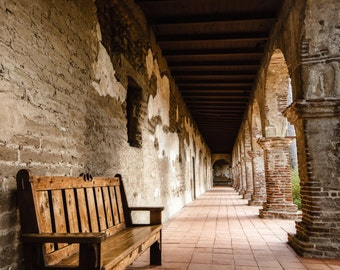 Mission San Juan Capistrano Walkway Photography Print Orange County Fine Art Photograph Wall Art Decor | Also Available on Canvas or Metal