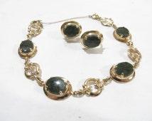 Vintage Dark Green Jade 14K Gold Filled Jewelry Set
