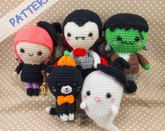 Crochet Halloween Patterns - Set of 5 (Ghost, Witch, Vampire, Cat, Frankenstein)  -  Halloween Amigurumi Pattern - Crochet Halloween Pattern