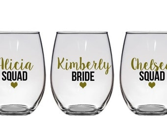 Bride Squad, Bridesmaid Wine Glasses, Bachelorette Party Glasses, Bachelorette Party Glasses, Bachelorette Wine Glasses