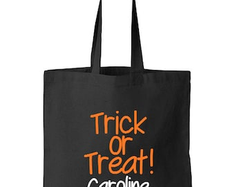Trick or Treat Bag, Personalized Halloween Trick Or Treat Candy Tote, Halloween Tote, Candy Bag