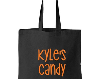 Personalized Halloween Trick Or Treat Candy Tote, Halloween Tote, Candy Bag