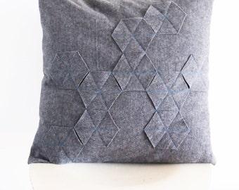 Geometric pillow cover / Scandinavian design / Grey wool throw pillow cover