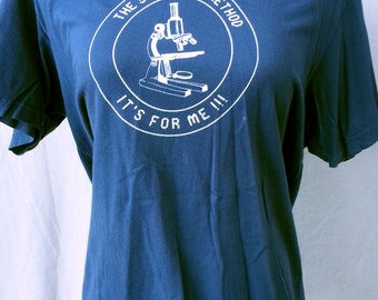"""Mens Graphic T-Shirt Navy Blue """"The Scientific Method. It's For Me!"""" 100% Cotton Size Large"""