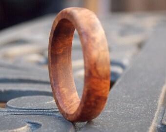 Mens Exotic Amboyna Burl wood ring size 13