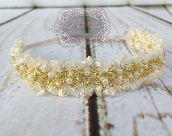 Newborn Headband Pearl Beaded Headband Gold & Ivory Headband Christening Headband Newborn Photo Prop Newborn Photo Shoot Thin Headband