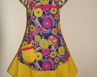 Women's Large Apron - Bright - Yellow -Fuchsia- Navy