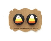 Handmade Fabric Covered Button Earrings Studs or Clip-ons - Halloween Trick or Treat Candy Corn with tiny sparkles, Halloween Candy Jewelry
