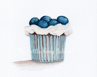 Cupcake Watercolor, Food Painting, Blueberry Art, Kitchen Decor, Food Art, Original Watercolor