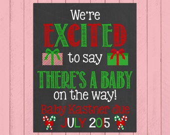 Christmas Pregnancy Announcement Chalkboard Poster Printable | We're Excited to Say | Pregnancy Reveal | Winter | Expecting | *DIGITAL FILE*