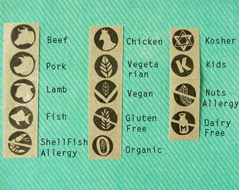 Meal choice stamps - Wedding Menu choice - Food Icon Options - Wedding RSVP - Party Food Icons