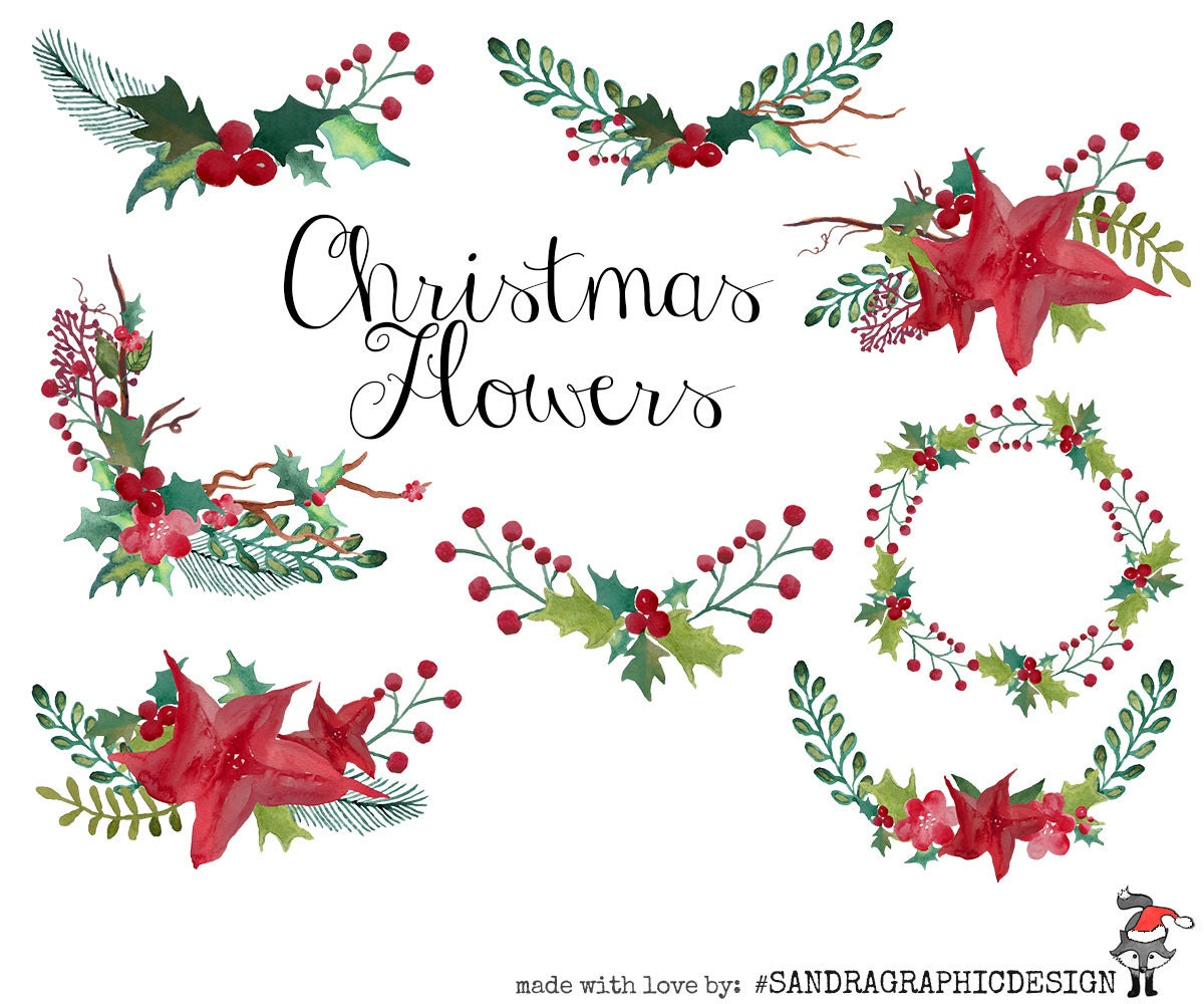 Christmas clip art: CHRISTMAS FLOWERS with 8 high