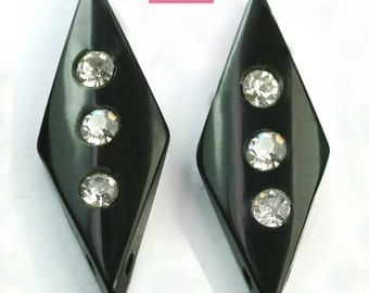 RARE! 2 x Art Deco Black Beads Diamond Shape Italian Lucite Vintage 30mm e.g. Pair of Earrings