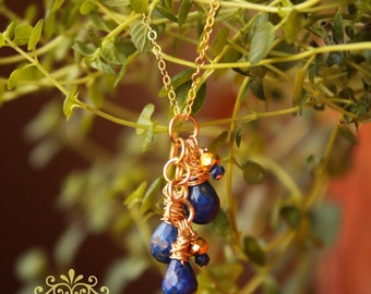 Lapis Lazuli Necklace Gold Long Necklace Gold Filled Lapis Necklace Blue Gemstone Necklace Dainty Gold Jewelry Natural Stone Necklace Boho