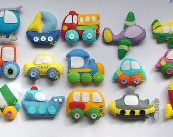 Felt car, Felt magnet Vehicles, Technics felt magnets,Cars toys, Kids car, Kids car toy,baby boy car, Felt magnet Vehicles, Technics magnets