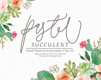 Watercolor succulent clip art -Pastel Succulent/rustic peach/Individual PNG files/Hand Painted/Wedding