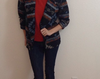 90s southwestern print blazer, 90s tribal print blazer, retro quirky blazer, vintage fall blazer, 90s hipster blazer, cozy fall blazer