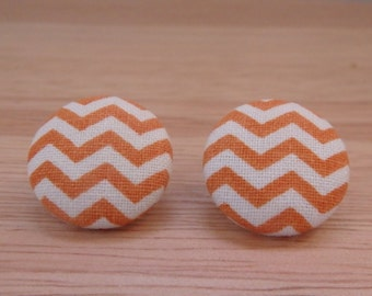 Chevron fabric button earrings in lime, turquoise or orange