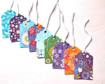 Gift Tags - Set of 12 - Prestrung Gift Tags - Blue Gift Tag - Orange Gift Tag - Green Gift Tags - Purple Gift Tags - Floral Gift Tags - Tags