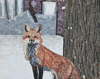 Red Fox In The Snow Marble Mosaic Mural  MA415A