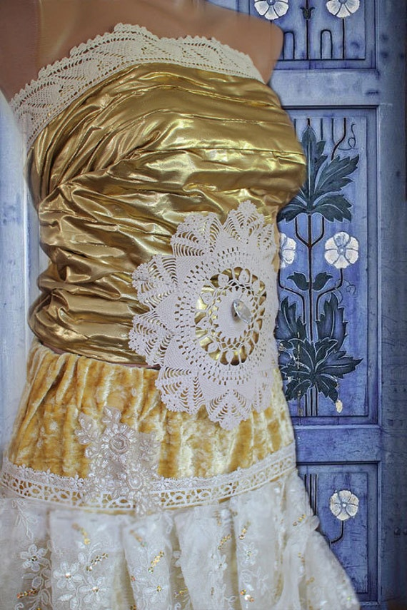 Golden wedding dress/ upcycled wedding dress/boho wedding dress/bridesmaid/engament dress/alternative wedding dress