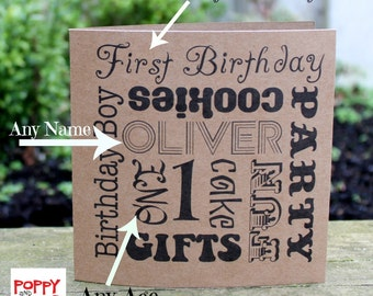 Custom Card Personalized Card Birthday Card Boy Any Age Birthday Card First Birthday Card Word Art Card Typography Card Card for Him