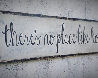 There's No Place Like Home Wood Sign Inspirational Wooden Sign Large Wooden Sign Typography  Distressed Sign Christmas gift 3x1